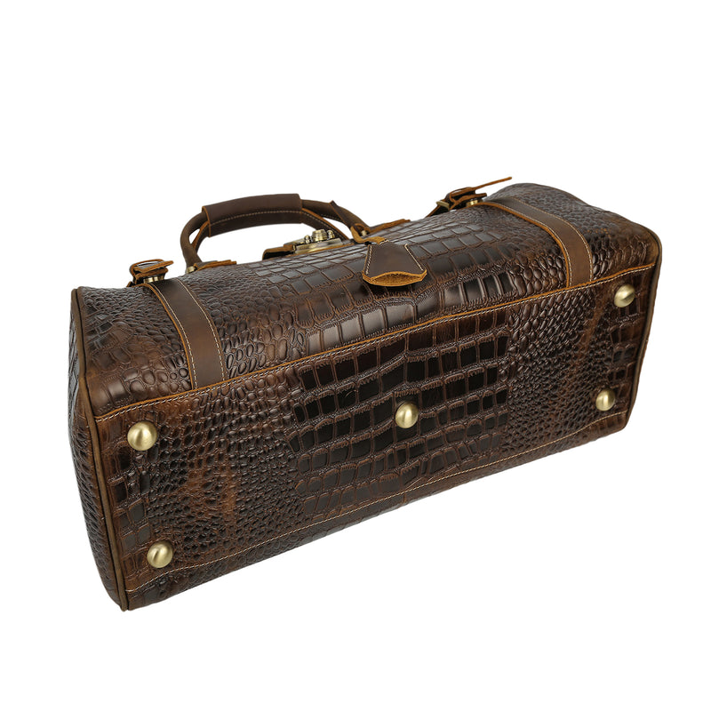 Polare Crocodile Pattern Cowhide Leather Duffle Bag (Bottom)