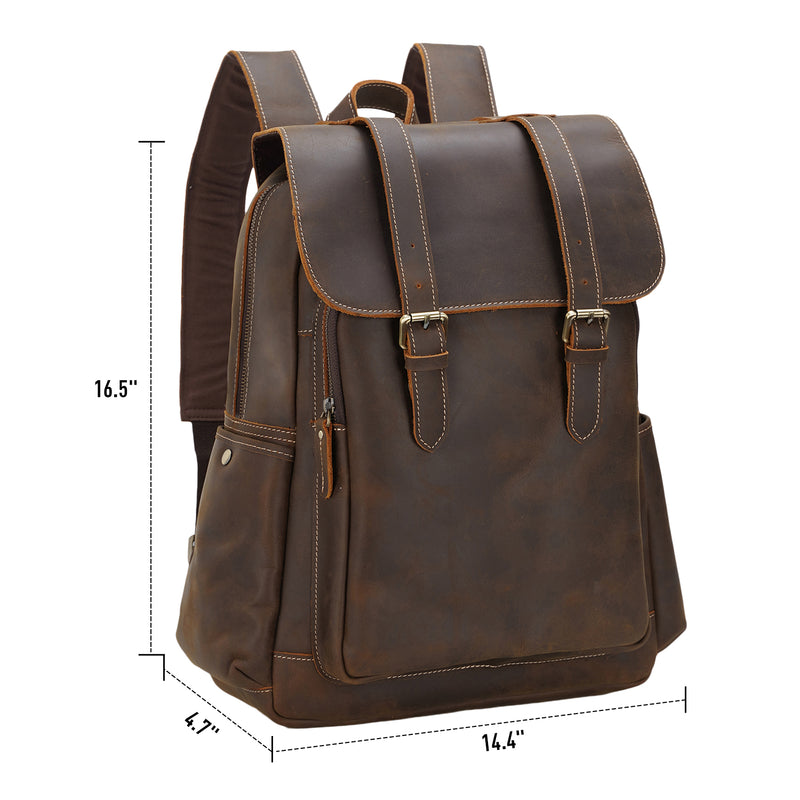 Polare Men Vintage Full Grain Leather 15.6 Inch Laptop Rucksack Backpack Travel Outdoor Shoulder Bag