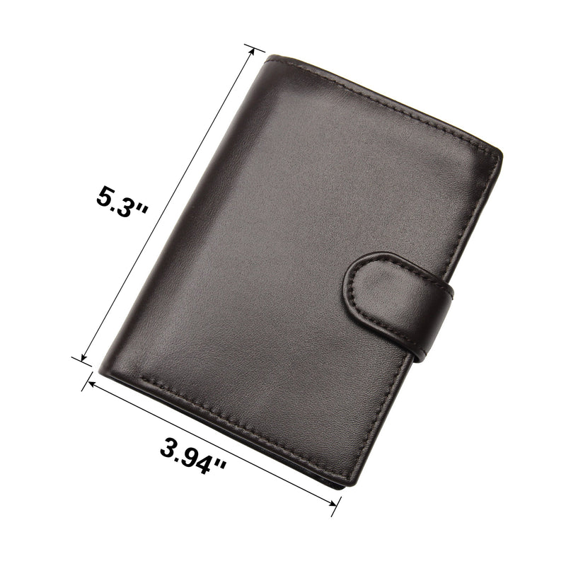 Polare Full Grain Cowhide Leather Wallet Multi Card Case (Dark Coffee, Dimension)