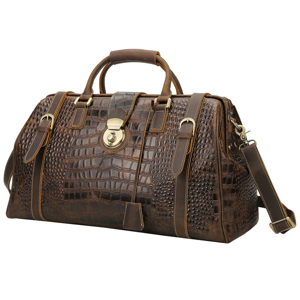 Polare Crocodile Pattern Cowhide Leather Duffle Bag