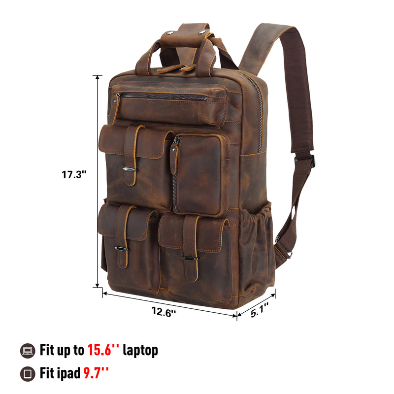 Polare Cowhide Leather Multiple Laptop Backpack (Dark Brown, Dimension)