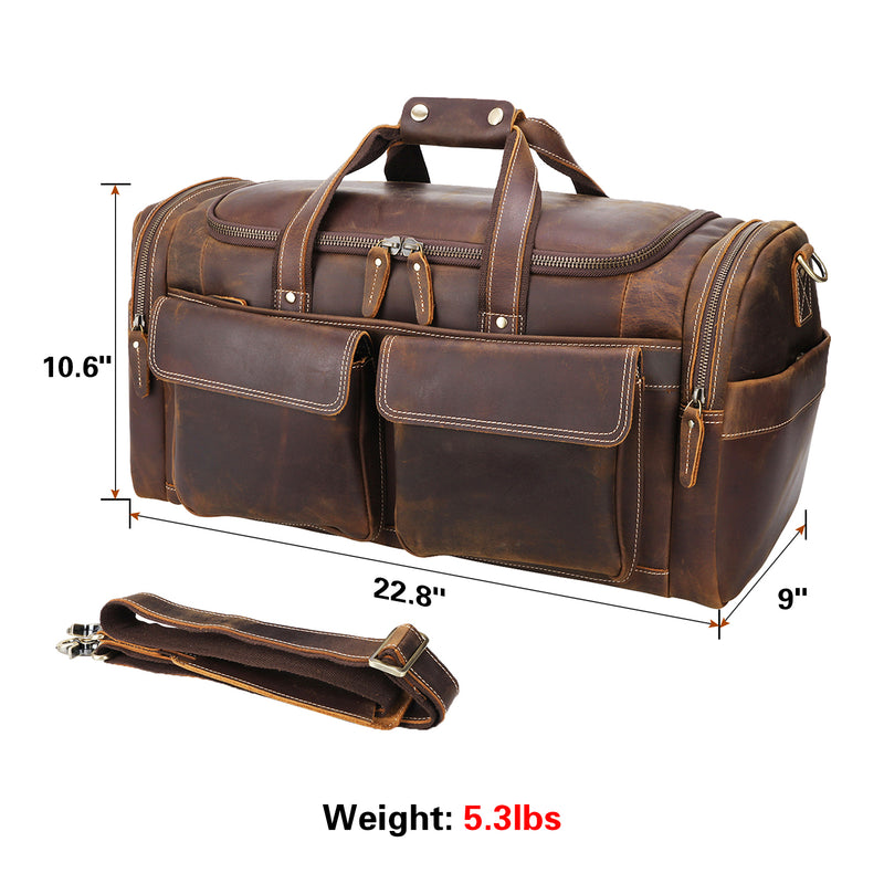 "Polare 22.8"" Duffel Retro Leather Gym Weekender Bag (Brown, Dimension)"