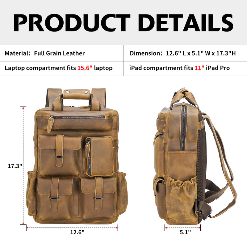 Polare Cowhide Leather Multiple Laptop Backpack (Light Brown, Dimension)