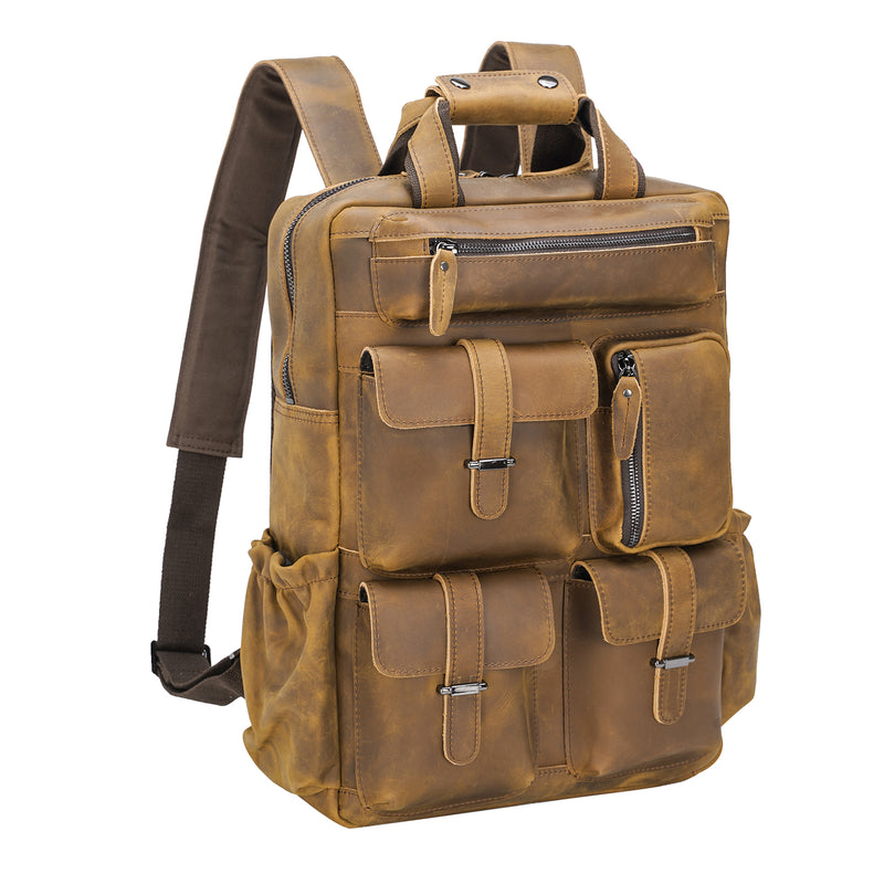 Polare Cowhide Leather Multiple Laptop Backpack (Light Brown)