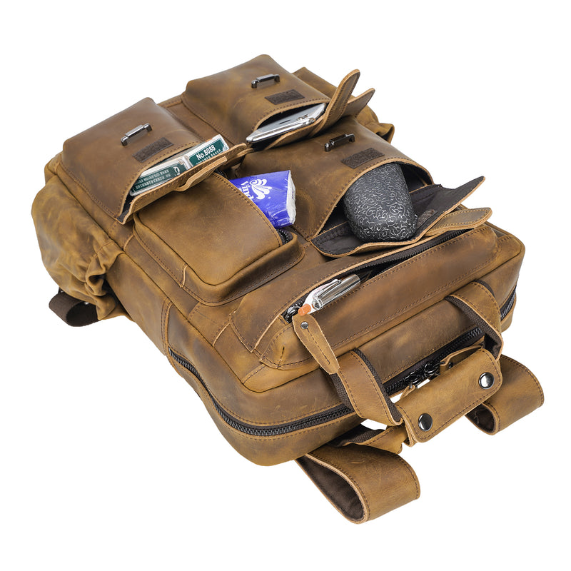 Polare Cowhide Leather Multiple Laptop Backpack (Light Brown, Pockets)
