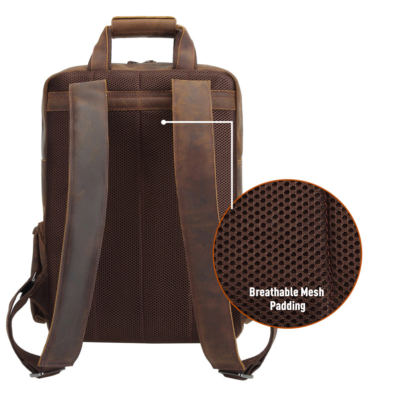 Polare Cowhide Leather Multiple Laptop Backpack (Dark Brown, Back)