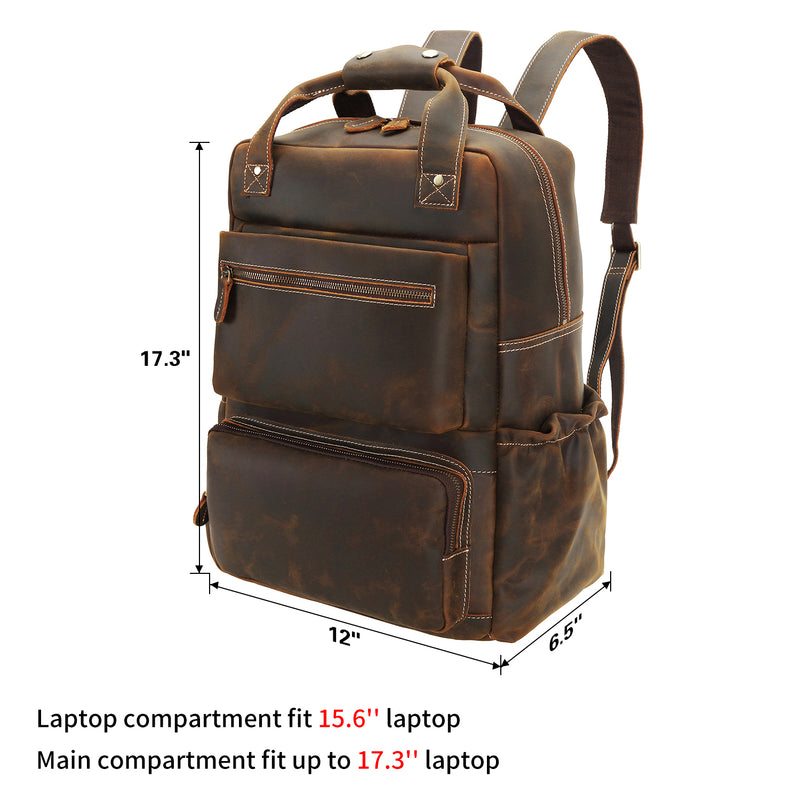 "Polare 15.6"" Full Grain Italian Leather Backpack Laptop Bag (Dimension)"
