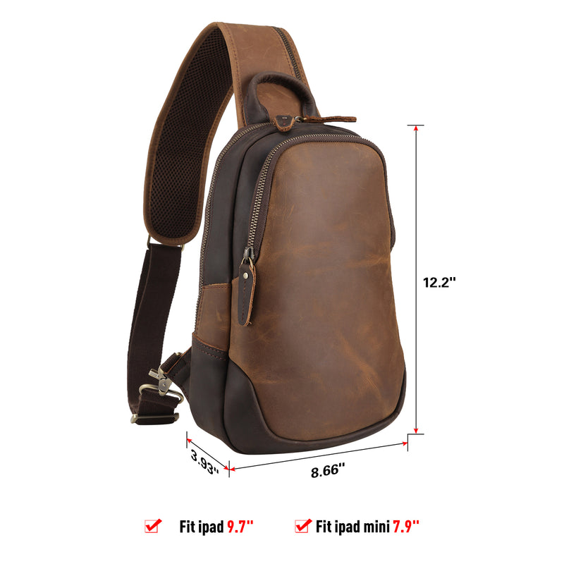 Polare Vintage Full Grain Leather Crossbody Sling Shoulder Bag Daypacks (Brown, Dimension)