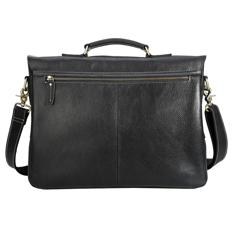 Polare Casual Leather Messenger Work Bag (Back)