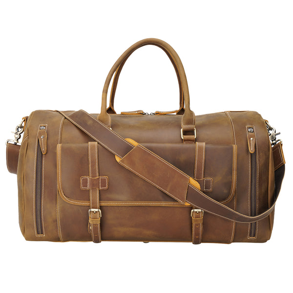 "Polare 22"" Duffel Retro Leather Gym Weekender Bag"