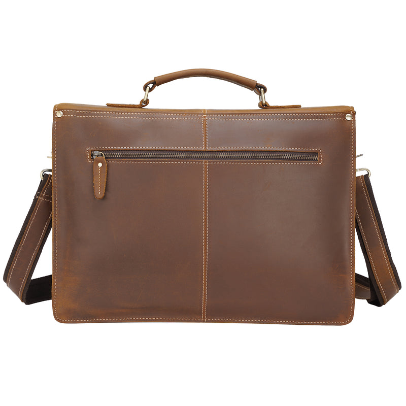 Polare Full Grain Leather Messenger Bag (Brown, Back)