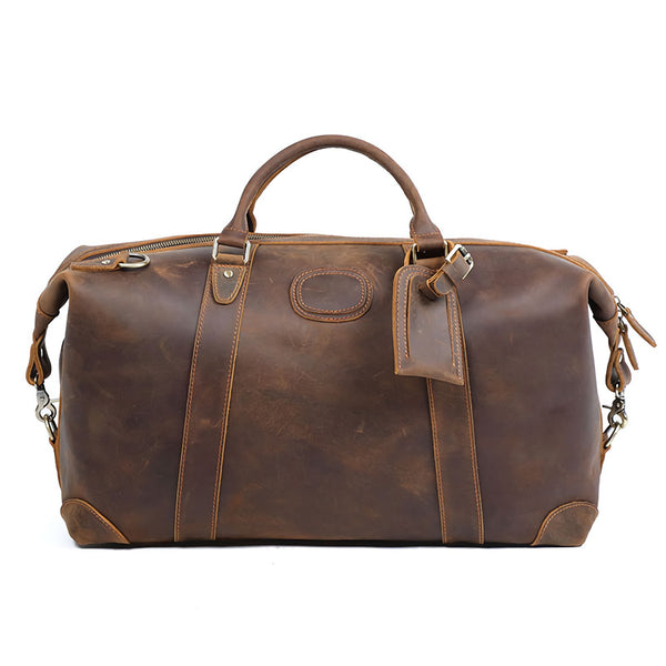 "Polare 20"" Full Grain Italian Leather Travel Tote Duffel Weekender Bag"