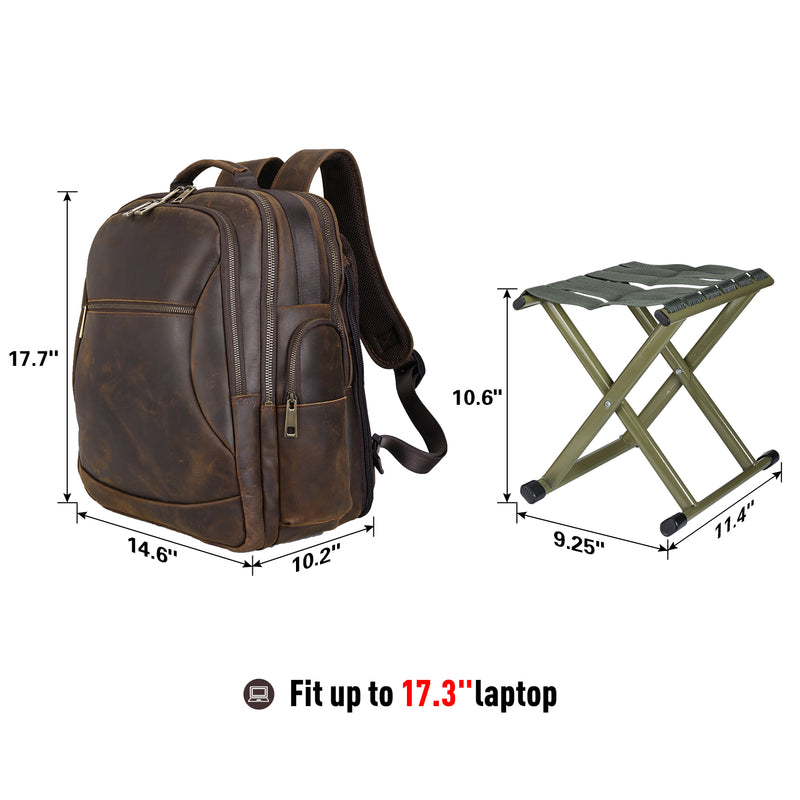 Polare Leather Multi-Functional Backpack Stool Combo (Dimension)