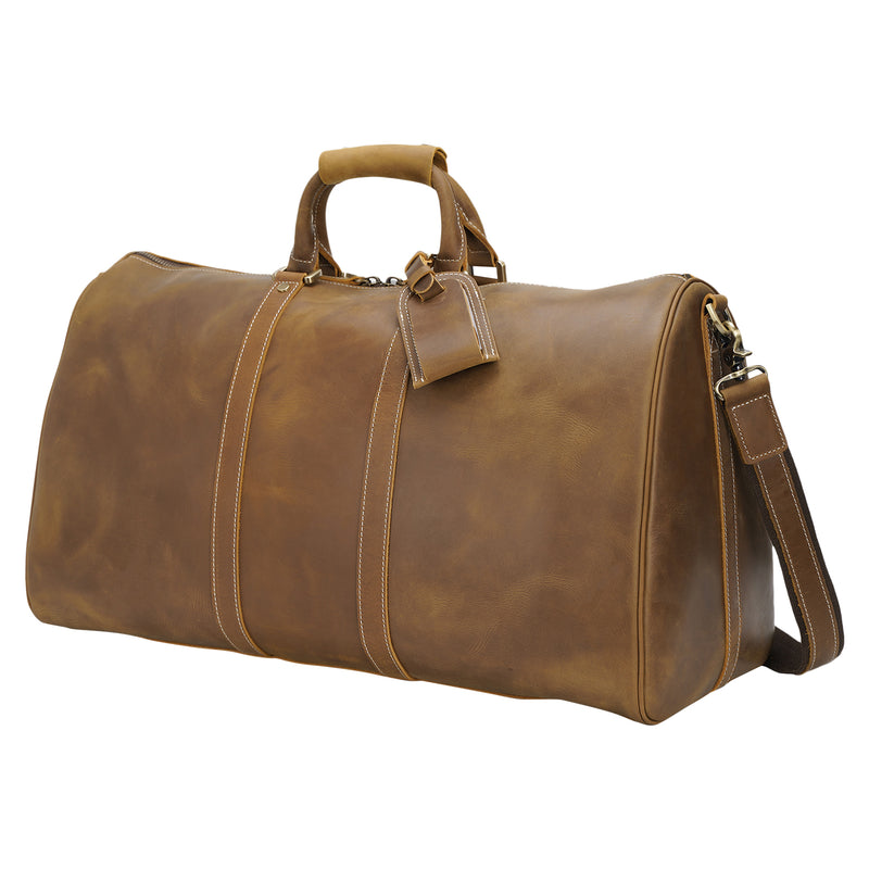 "Polare 23"" Ambassador Style Retro Weekender Bag (Light Brown)"