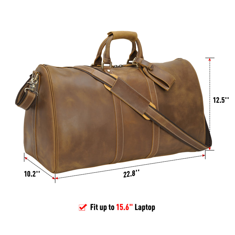 "Polare Ambassador Style Retro Weekender Bag 23"" Overnight Luggage made with Full Grain Leather and Premium YKK Zippers"