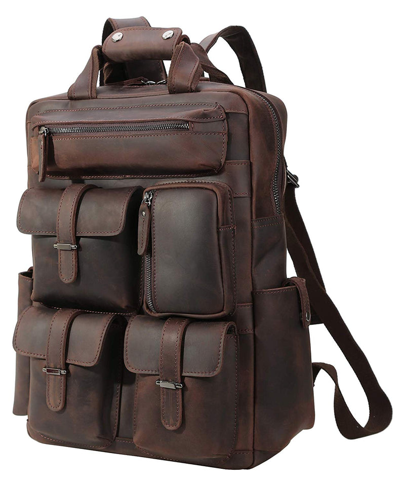 Polare Real Leather Vintage Laptop Backpack Shoulder Bag (Dark Brown, Profile)