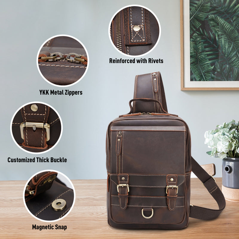 Polare Retro Full Grain Leather Shoulder Backpack Travel Rucksack Sling Bag (Details)