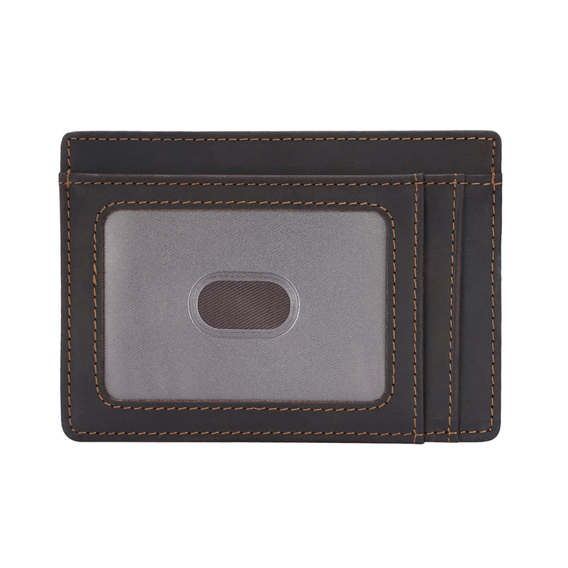 Polare Slim RFID Blocking Full Grain Leather Front Pocket Wallets (Dark Brown,Front)