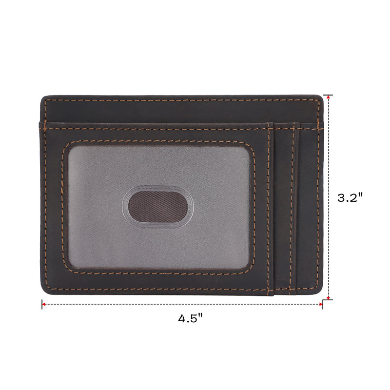 Polare Slim RFID Blocking Full Grain Leather Front Pocket Wallets (Dark Brown,Dimension)