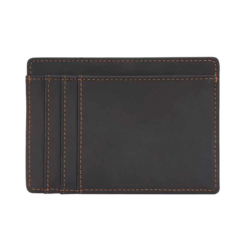 Polare Slim RFID Blocking Full Grain Leather Front Pocket Wallets (Dark Brown,Back)