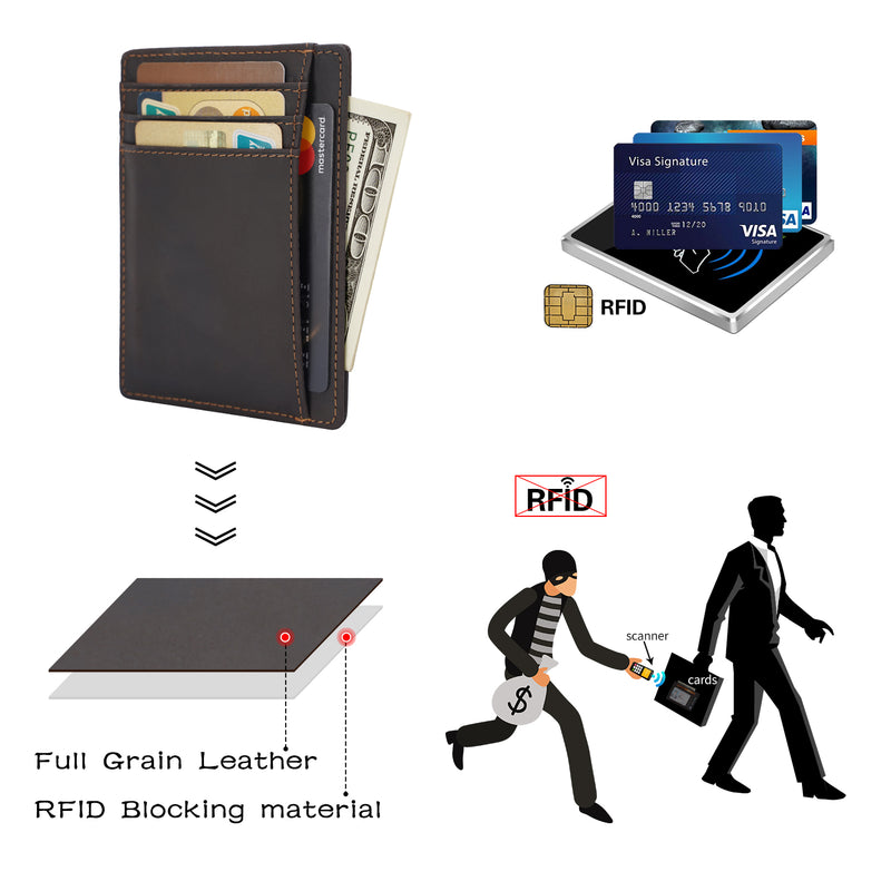 Polare Slim RFID Blocking Full Grain Leather Front Pocket Wallets (Dark Brown, RFID Blocking)