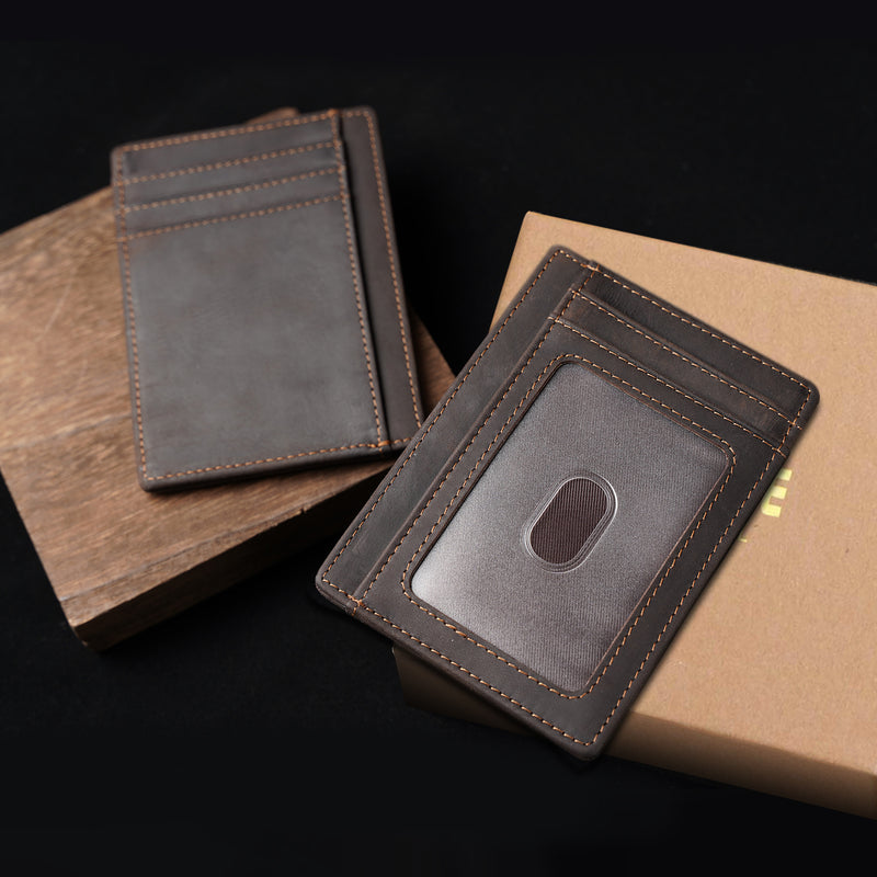 Polare Slim RFID Blocking Full Grain Leather Front Pocket Wallets (Dark Brown,Scenario Shows)