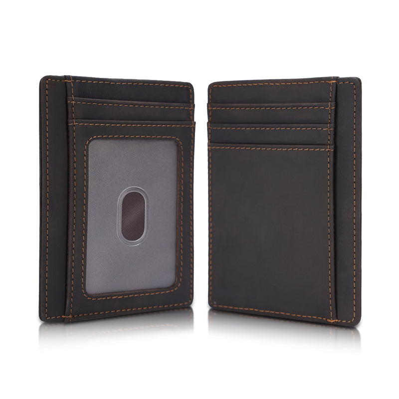 Polare Slim RFID Blocking Full Grain Leather Front Pocket Wallets (Dark Brown)