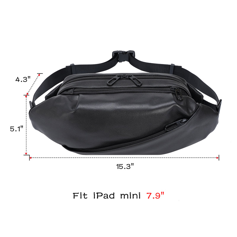Polare Soft Full Grain Leather Waist Fanny Pack (Dimension)