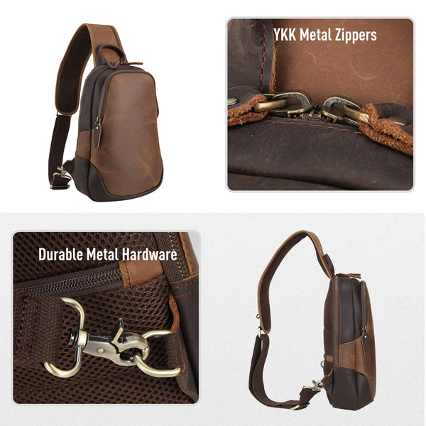 Polare Vintage Full Grain Leather Crossbody Sling Shoulder Bag Travel Hiking Daypacks With YKK Metal Zippers