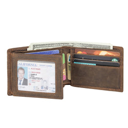 Polare RFID Blocking Cowhide Leather Bifold Wallet with 2 ID Windows