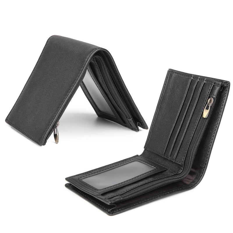Polare RFID Blocking Crazy Horse Leather Bifold Wallet (Black, Open)