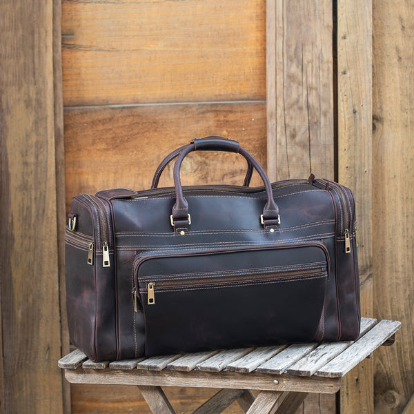 "Polare 23.6"" Retro Full Grain Leather Duffel Weekender Travel Bag (Scenario Shows)"