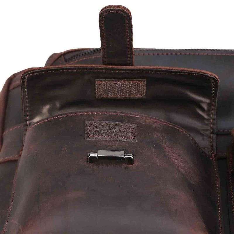 Polare Real Leather Vintage Laptop Backpack Shoulder Bag (Dark Brown, Details)