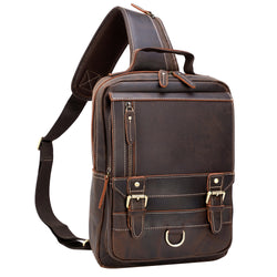 Polare Retro Full Grain Leather Shoulder Backpack Travel Rucksack Sling Bag