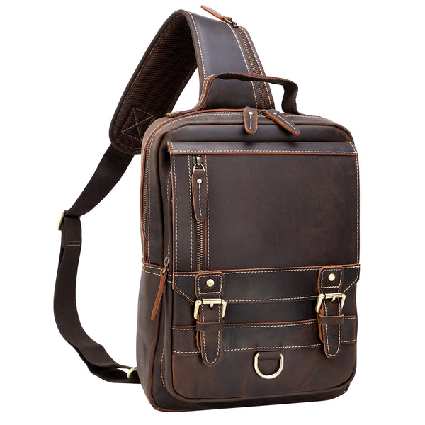 Polare Retro Full Grain Leather Shoulder Backpack Travel Rucksack Sling Bag Messenger Crossbody Bag