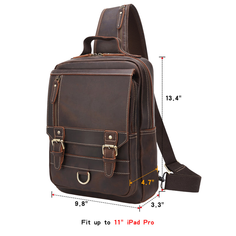 Polare Retro Full Grain Leather Shoulder Backpack Travel Rucksack Sling Bag (Dimension)
