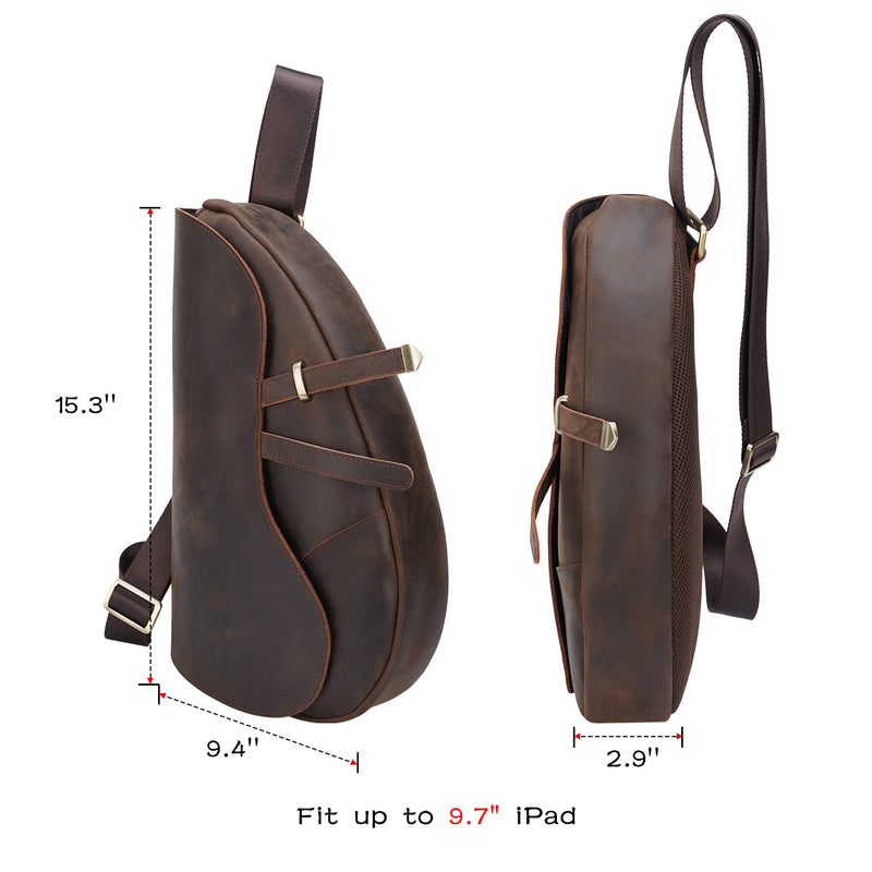 Polare Modern Style Full Grain Leather Sling Bag (Dimension)
