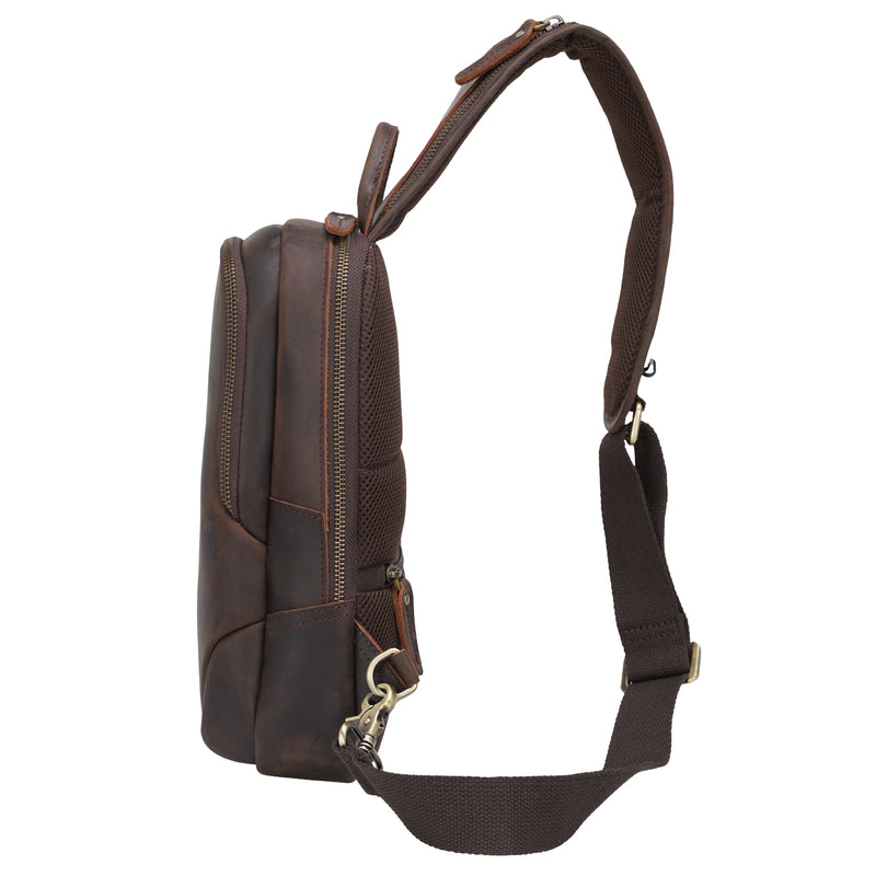 Polare Vintage Full Grain Leather Crossbody Sling Shoulder Bag Daypacks (Dark Brown, Profile)
