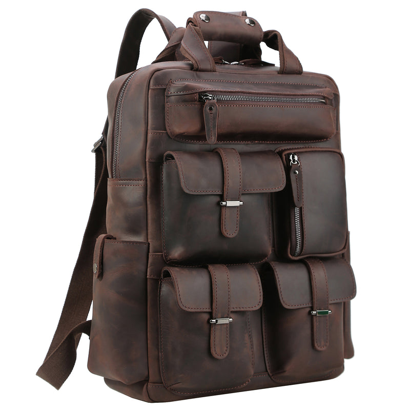 Polare Real Leather Vintage Laptop Backpack Shoulder Bag (Dark Brown)