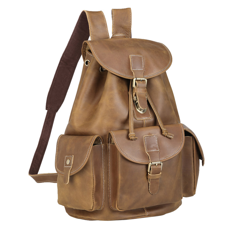 Polare Leather Backpack Vintage College Laptop Bag (Light Brown)