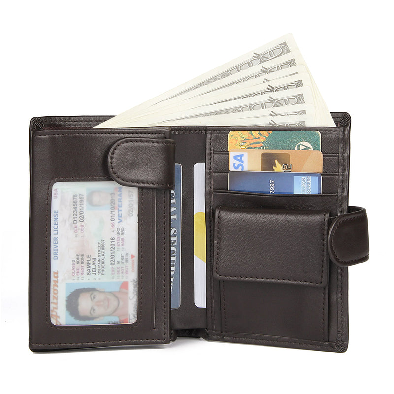 Polare Full Grain Cowhide Leather Wallet Multi Card Case (Dark Coffee)