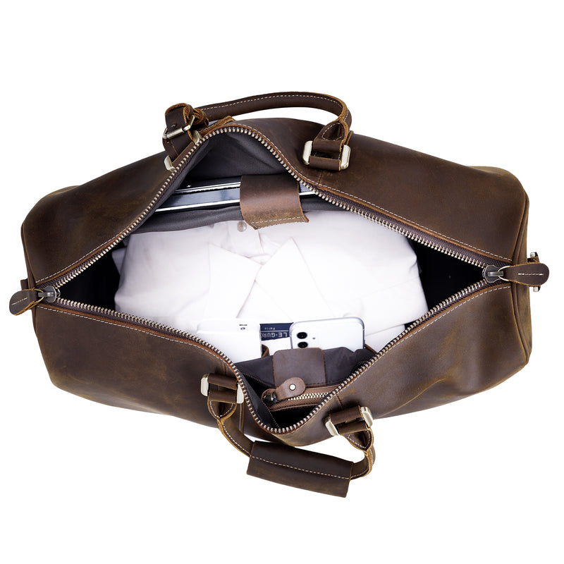 Polare Leather Weekender Duffel Overnight Bag (Inside)