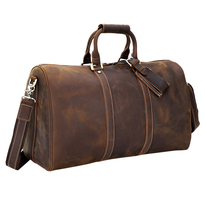 Polare Leather Weekender Duffel Overnight Bag (Front)