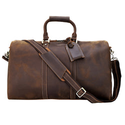 Polare Leather Weekender Duffel Overnight Bag