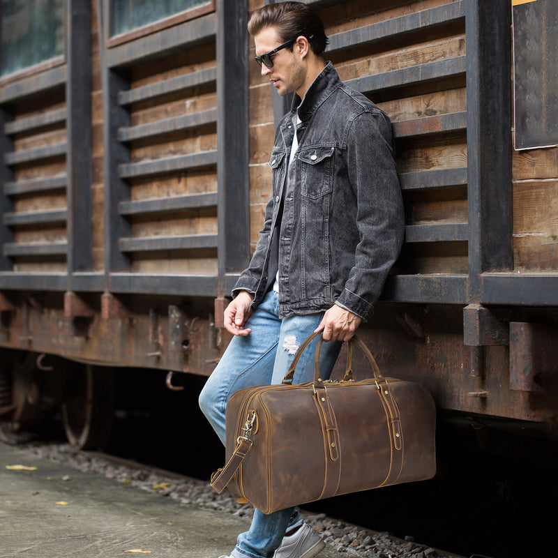 "Polare 23"" Classic Full Grain Leather Travel Duffel Bag"
