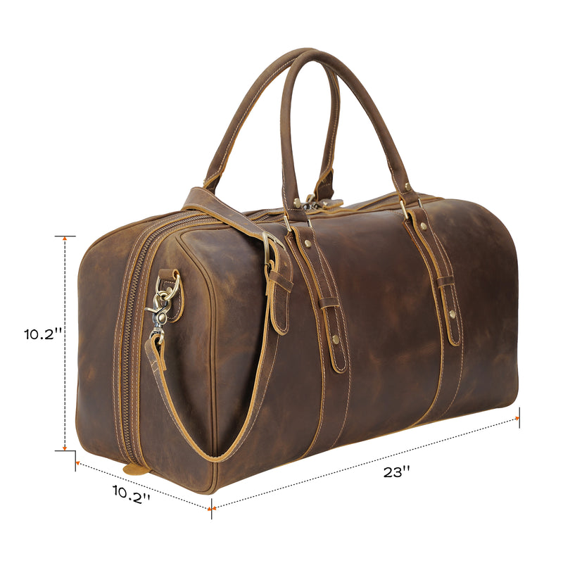 "Polare 23"" Classic Full Grain Leather Travel Duffel Bag (Dimension)"