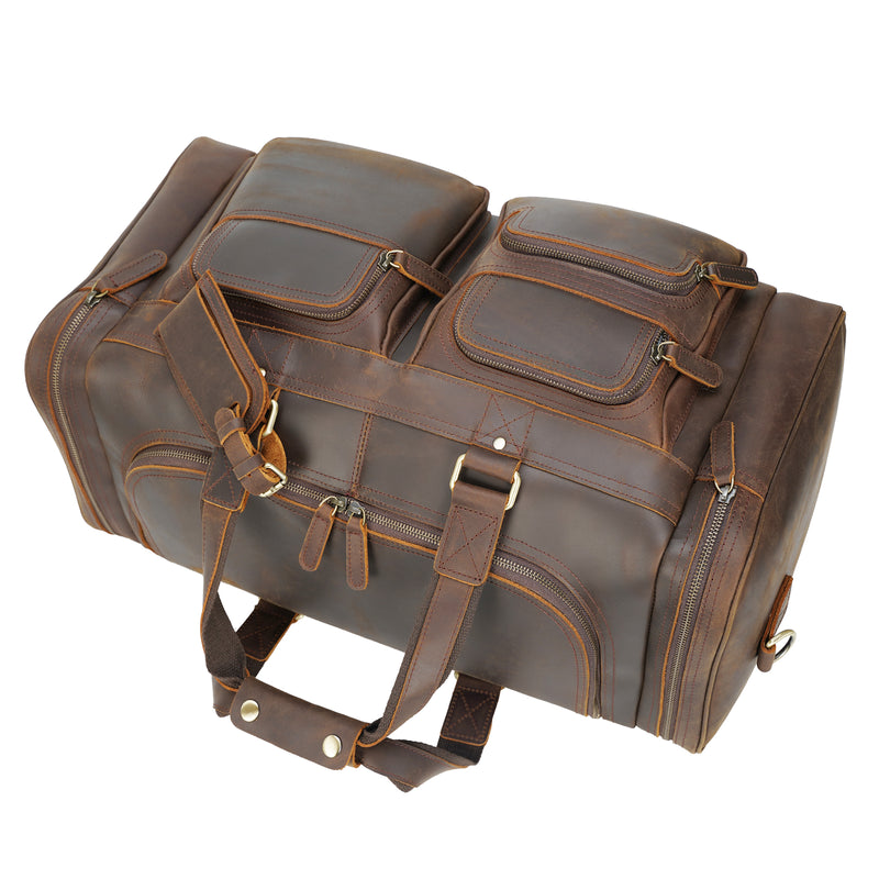 "Polare 23"" Full Grain Leather Duffel Weekender Travel Bag (Top)"
