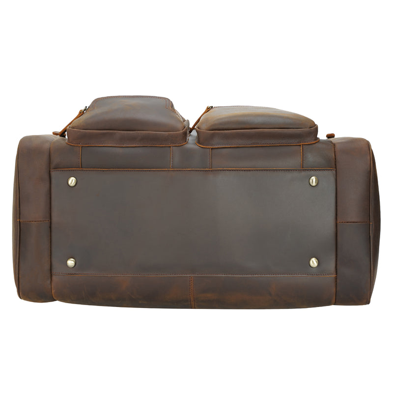 "Polare 23"" Full Grain Leather Duffel Weekender Travel Bag (Bottom)"