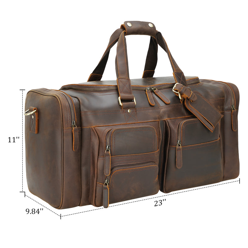 "Polare 23"" Full Grain Leather Duffel Weekender Travel Bag (Dimension)"