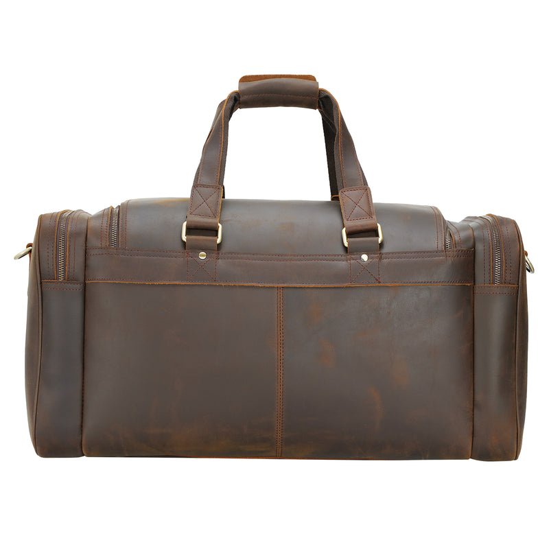 "Polare 23"" Full Grain Leather Duffel Weekender Travel Bag (Back)"